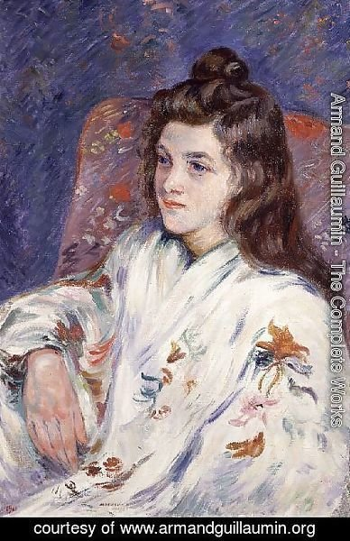 Portrait of Mlle. Guillaumin in a kimono, 1901
