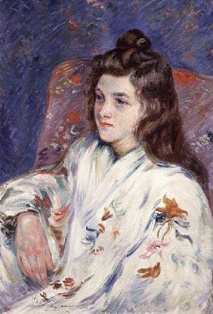 Armand Guillaumin - Portrait of Mlle. Guillaumin in a kimono, 1901