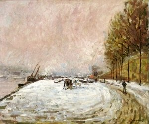 Armand Guillaumin - Quai Saint Bernard in the Snow