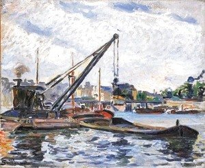Armand Guillaumin - Bords de la Seine avec peniches