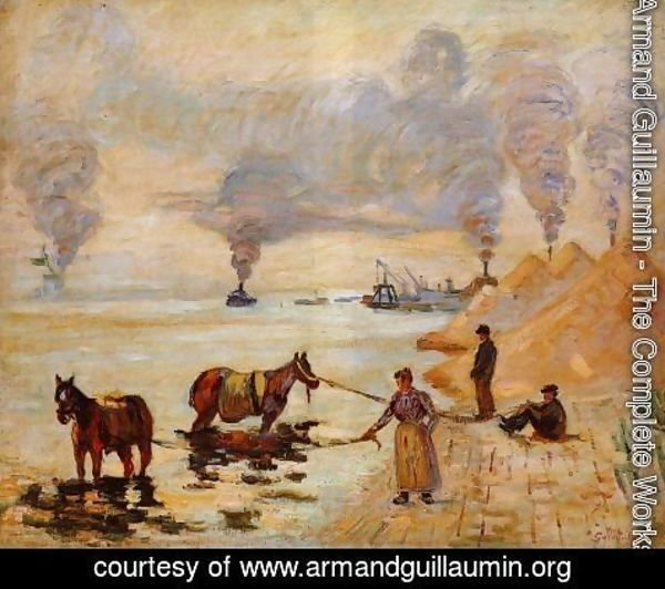 Armand Guillaumin - Horses In The Sand At Ivry