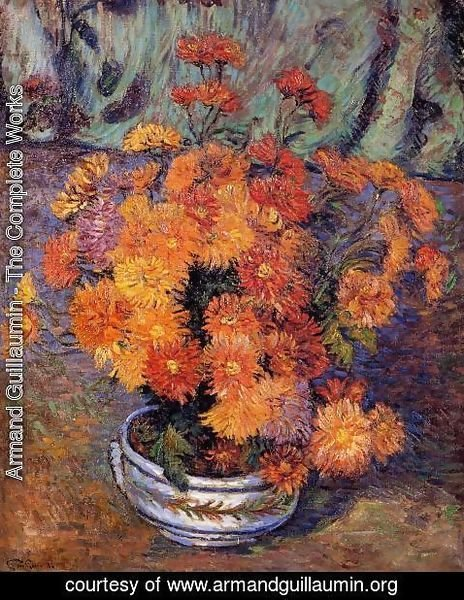 Armand Guillaumin - Vase Of Chrysanthemums